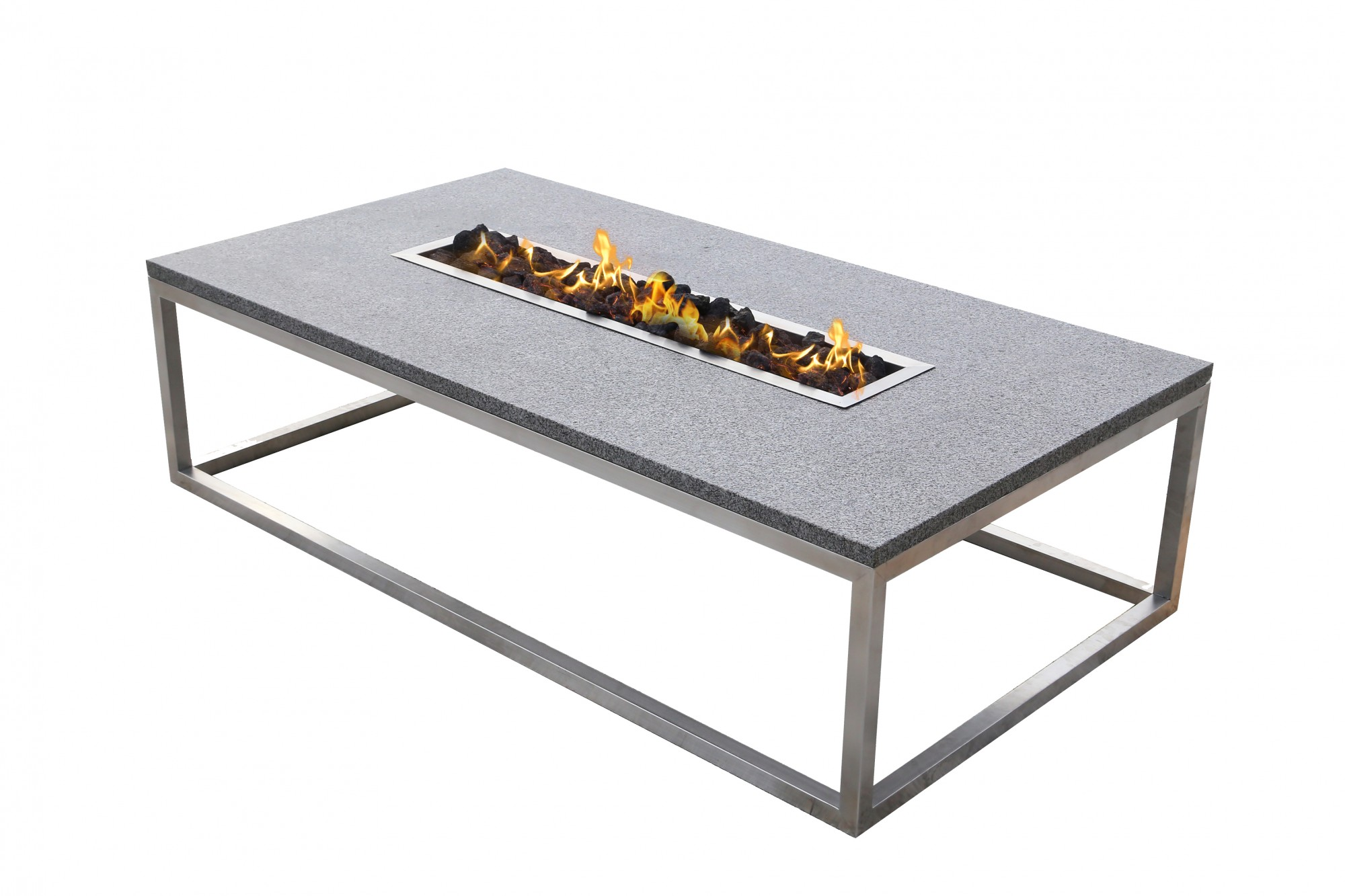 Granite Fire Table with Stainless Base