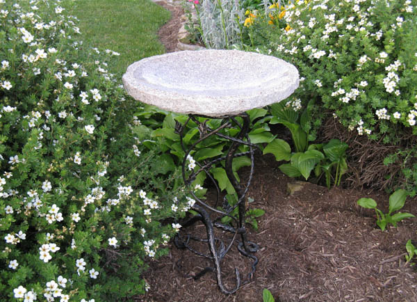 Gold Vineleaf Birdbath