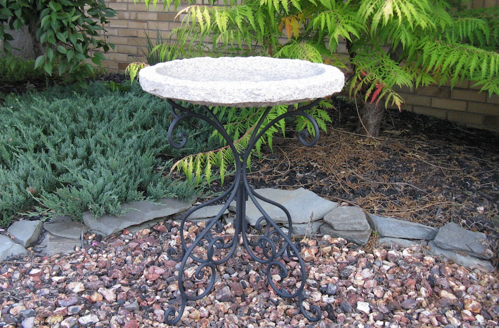 Gold Monarch Birdbath