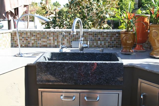 Outdoor kitchen sink stone age creations for Outdoor kitchen sink