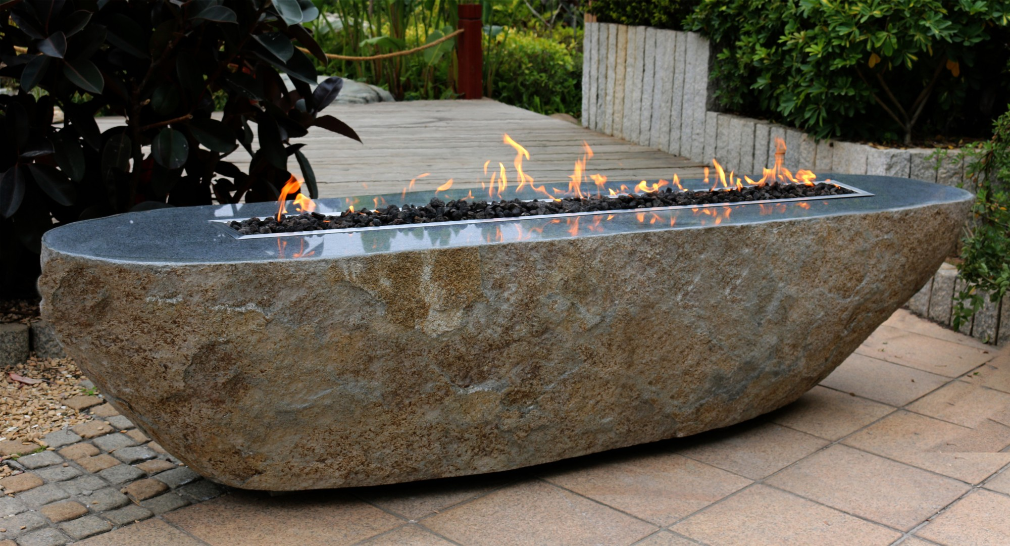 Granite Boulder Fire Table By Stone Age Creations