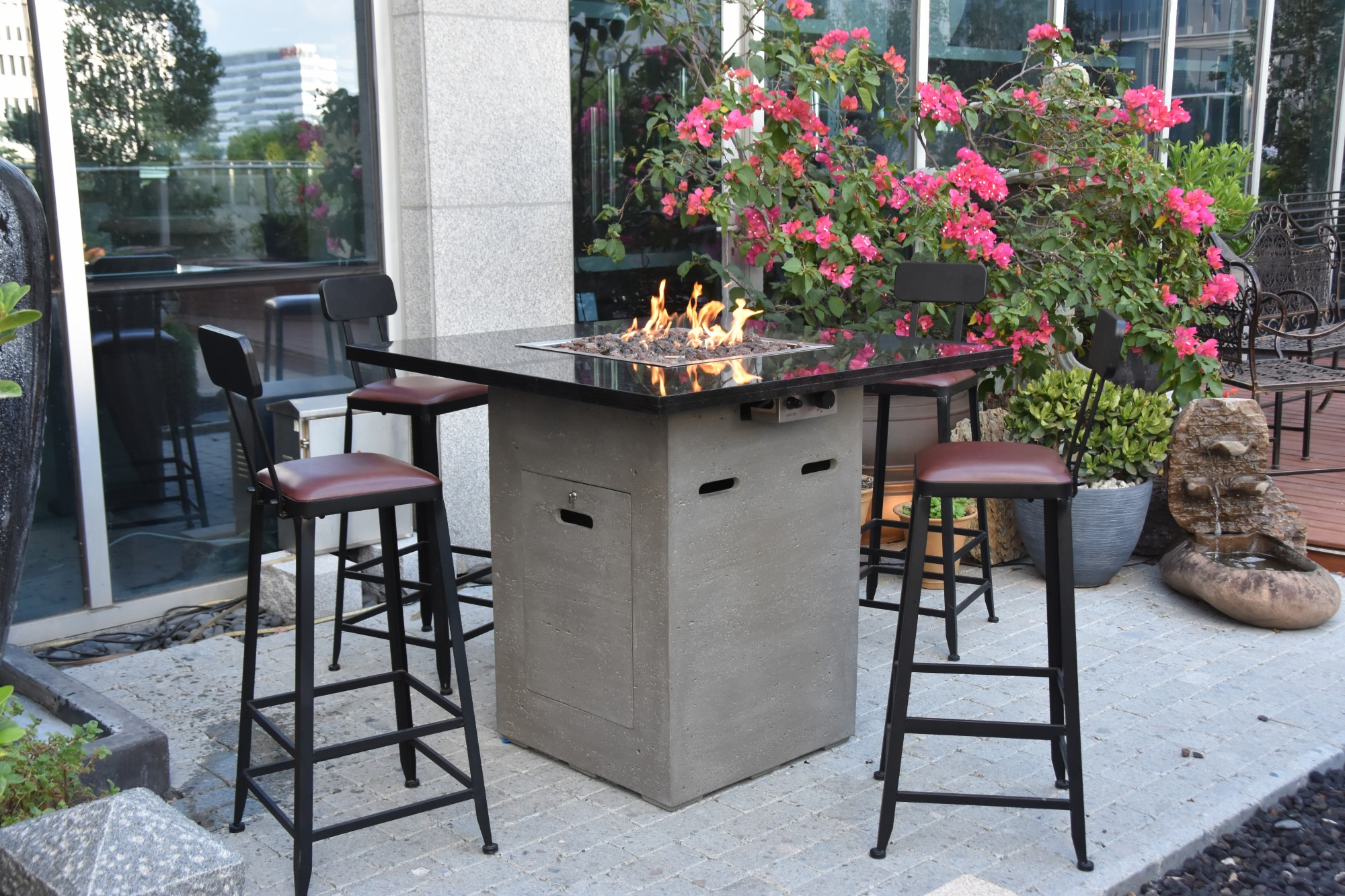 High Performance Cast Concrete Base With Natural Stone Top Fire Table