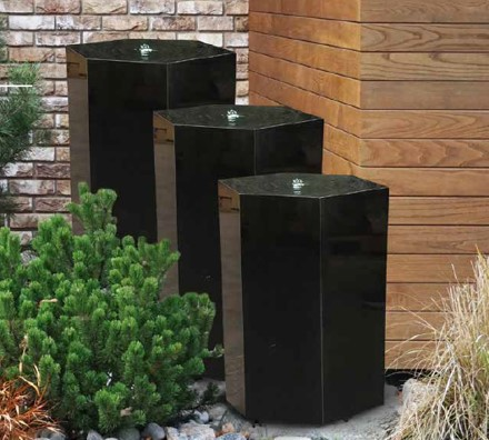 Fully Polished Basalt Fountain Trio